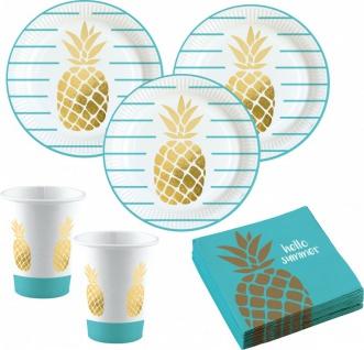 36 Teile goldene Ananas Party Deko Basis Set - für 8 Kinder