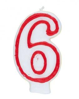 Zahlenkerze in weiß mit rot 6