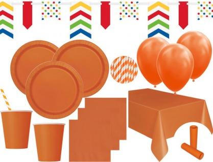 XL 85 Teile Party Deko Set Orange für 16 Personen
