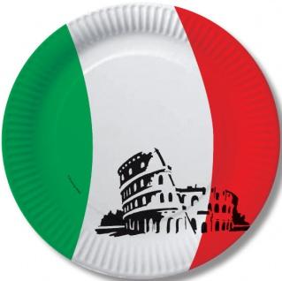 10 Papp Teller Italien Party Deko