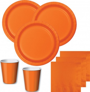 52 Teile Party Deko Set Orange für 16 Personen