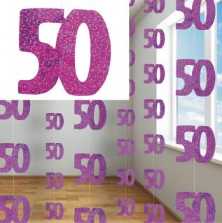 50. Geburtstag Glitzer Girlanden Pink