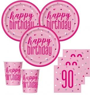 48 Teile 90. Geburtstag Pink Dots Party Set 16 Personen