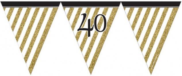 XXL Mega 106 Teile Set zum 40. Geburtstag - Party Deko in Schwarz & Gold für 32 Personen - Vorschau 3