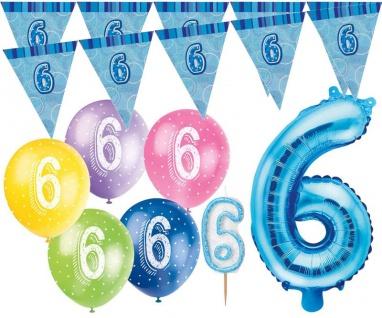 6. Geburtstag Blau Folienballon + Girlande + Luftballons + Kerze Deko Set - Sechs