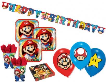 XL 43 Teile Super Mario Party Deko Basis Set für 8 Kinder