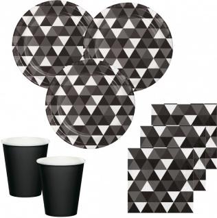 32 Teile Party Deko Set Schwarz Fractals für 8 Personen