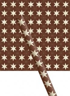 Weihnachts Geschenkpapier braun mit beigen Sternen