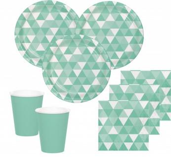 32 Teile Party Deko Set Mint Fractals für 8 Personen