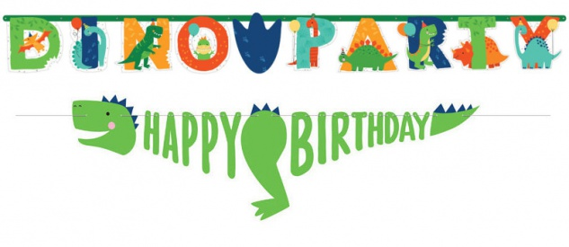 doppelte Geburtstags Girlande kleine Dino Freunde