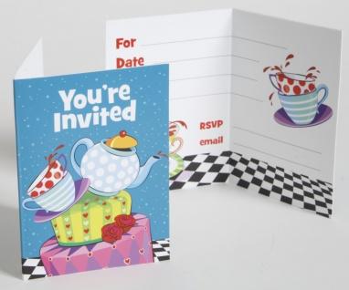 8 Einladungskarten Tee Party verrückter Hutmacher