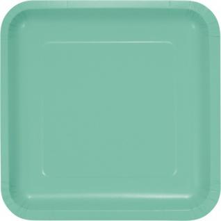 18 kleine quadratische Papp Teller Mint