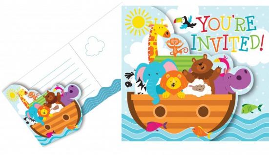 8 Einladungskarten Arche Noah Babyshower