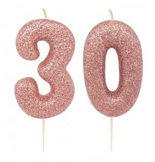 Kuchen Kerze 30. Geburtstag Rosegold Glitzer