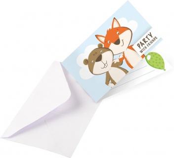 8 Einladungskarten Fuchs und Biber