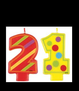 21. Geburtstag bunte Kerze