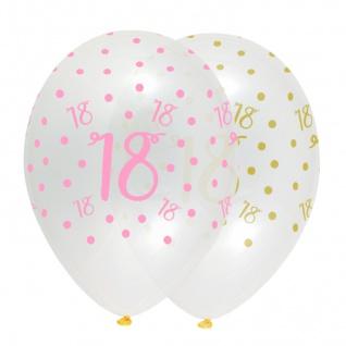 6 Luftballons zum 18. Geburtstag durchsichtig mit Rosa und Gold bedruckt