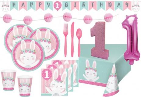 XXL 61 Teile rosa Häschen Party Deko Set zum 1. Geburtstag für 8 Personen