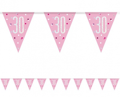 Wimpel Girlande Pink Dots Glitzer zum 30. Geburtstag