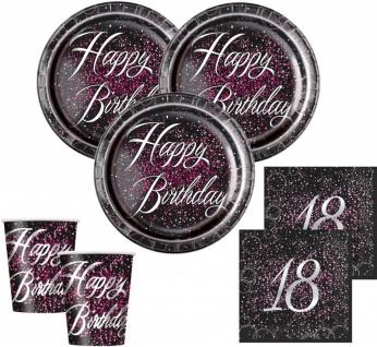 32 Teile edles Party Deko Set zum 18. Geburtstag in Schwarz Pink Silber foliert für 8 Personen