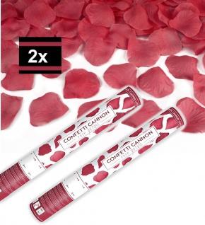 2 x Konfetti Kanone Rote Rosenblätter 40 cm Rosen Regen Shooter Hochzeit Partypopper