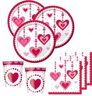 32 Teile hängende Herzchen Deko Set 8 Personen Herzen Valentinstag