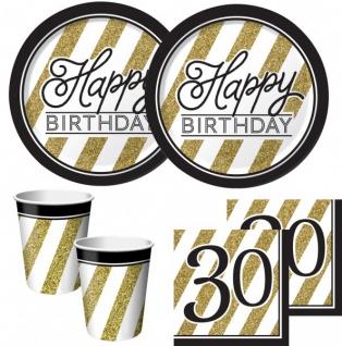 48 Teile zum 30. Geburtstag Black and Gold für 16 Personen