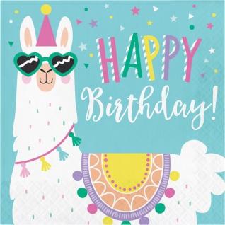 16 Geburtstags Servietten bunte Lama Party
