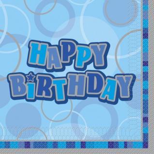 16 Happy Birthday Party Servietten Blau
