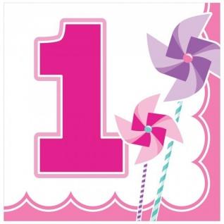48 Teile Erster Geburtstag Windrad Pink Party Deko Set 16 Personen - Vorschau 3