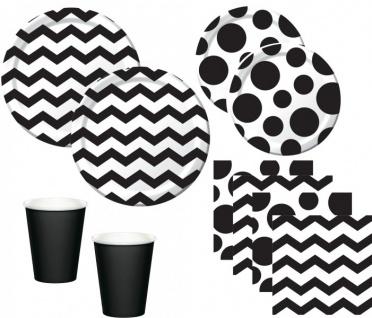 44 Teile Party Deko Set Schwarz Weiß Muster Mix für 8 Personen