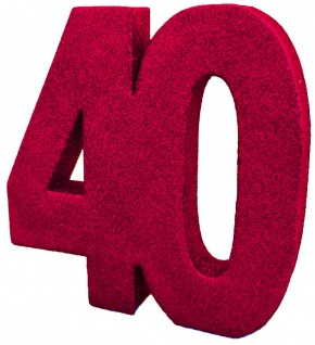 Deko Glitzer Zahl 40. Rubin Hochzeit oder Jubiläum in Rot