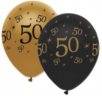 6 Luftballons 50. Geburtstag Black and Gold