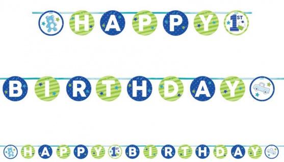 Doodle in Blau Geburtstags Girlande am Satinband