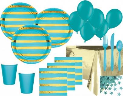 XXL 68 Teile Deluxe Party Deko Set Bermuda Blau & Gold Glanz gestreift für 8 Personen