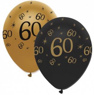6 Luftballons 60. Geburtstag Black and Gold