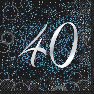 40. Geburtstag 16 Servietten in Schwarz Blau foliert
