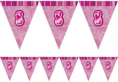 8. Geburtstag Wimpel Girlande Pink