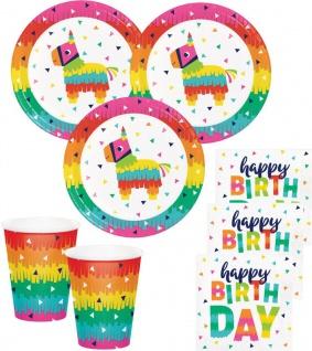 48 Teile buntes Fiesta Fun Party Geburtstags Set für 16 Personen