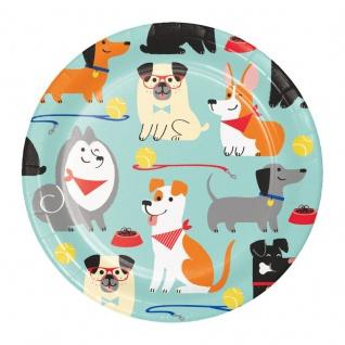 8 kleine Papp Teller Hunde Party