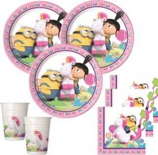 36 Teile Minions Agnes + Fluffy Einhorn Party Deko Set für 8 Kinder
