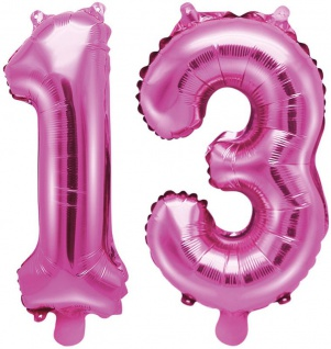 Folienballons Zahl 13 Pink Metallic 35 cm