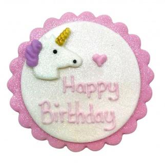 Einhorn Zucker Plakette Happy Birthday 7, 5 cm