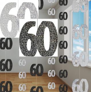 60. Geburtstag Glitzer Girlanden Schwarz + Silber