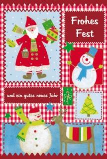 Weihnachtskarte Weihnachtsmann und Schneemann