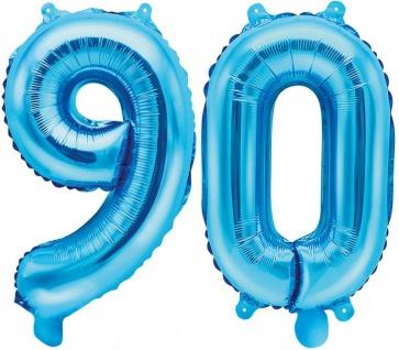 Folienballons Zahl 90 Blau Metallic 35 cm
