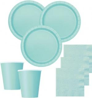 50 Teile Party Deko Set Pastell Mint für 14 Personen - Vorschau 1