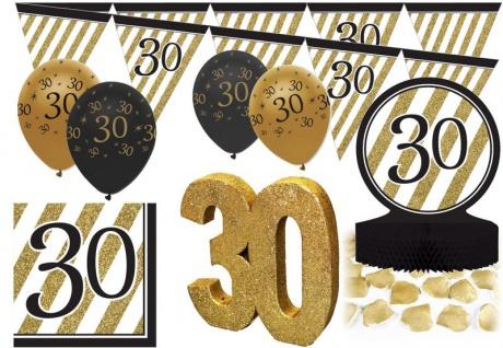 26 Teile Set zum 30. Geburtstag oder Jubiläum - Party Deko in Schwarz & Gold