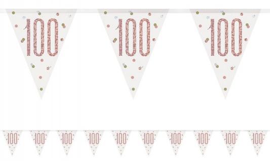 Wimpel Girlande Urban Apricot Glitzer zum 100. Geburtstag