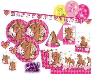 XXL 69 Teile Pferd Pink Pony Party Deko Set für 6 Kinder